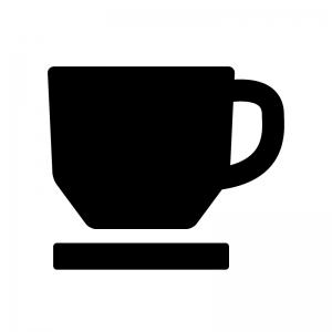 コーヒーカップの白黒シルエットイラスト07