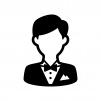 タキシードを着た人物の白黒シルエットイラスト
