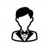 タキシードを着た人物の白黒シルエットイラスト02