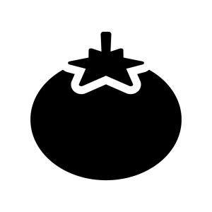 トマトの白黒シルエットイラスト03