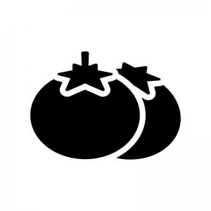 トマトの白黒シルエットイラスト04