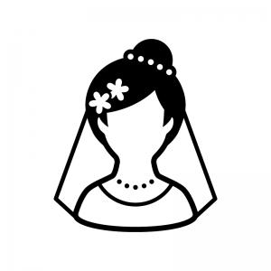 新婦の白黒シルエットイラスト02