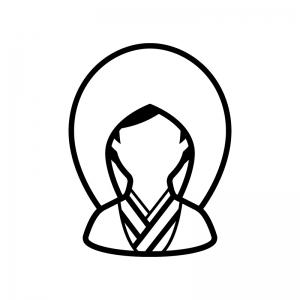 和装の新婦(白無垢)の白黒シルエットイラスト