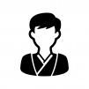 和装の新郎の白黒シルエットイラスト