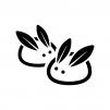 雪うさぎの白黒シルエットイラスト02