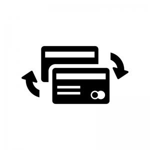 クレジットカードチェンジの白黒シルエットイラスト02