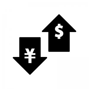 為替・FXの白黒シルエットイラスト