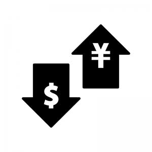 為替・FXの白黒シルエットイラスト02