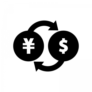 外貨両替の白黒シルエットイラスト
