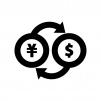 外貨両替の白黒シルエットイラスト02