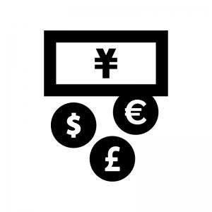 外貨両替の白黒シルエットイラスト03