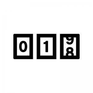 アナログカウンターの白黒シルエットイラスト02