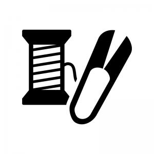 裁縫の白黒シルエットイラスト02