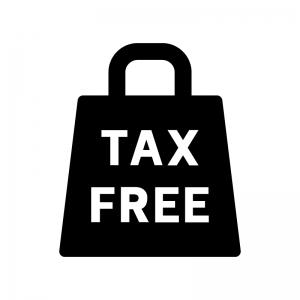 TAX FREEの白黒シルエットイラスト