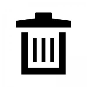 ゴミ箱の白黒シルエットイラスト04
