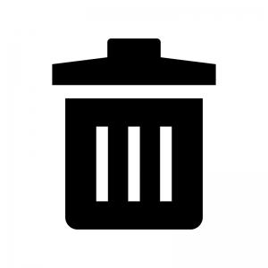 ゴミ箱の白黒シルエットイラスト05