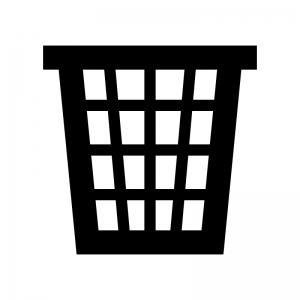網目・メッシュのゴミ箱の白黒シルエットイラスト