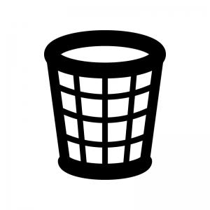 網目・メッシュのゴミ箱の白黒シルエットイラスト02