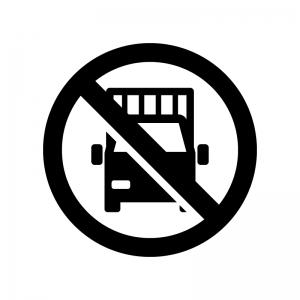 トラック禁止の白黒シルエットイラスト02
