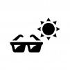 UVサングラスの白黒シルエットイラスト