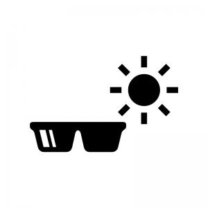 UVサングラスの白黒シルエットイラスト02