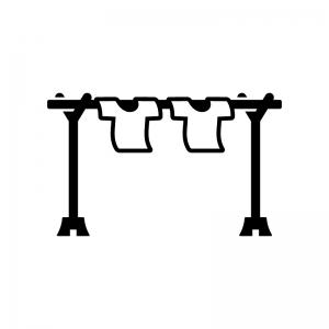 物干し竿と洗濯物の白黒シルエットイラスト