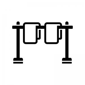 物干し竿と洗濯物の白黒シルエットイラスト02