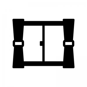 窓ガラスとカーテンの白黒シルエットイラスト03
