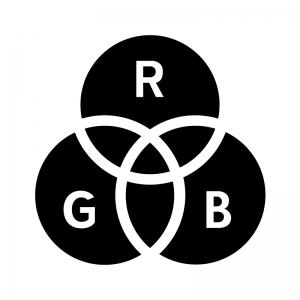 RGBの白黒シルエットイラスト02