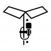 ピンマイク装着の白黒シルエットイラスト02