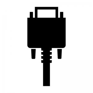 VGA(アナログRGB)ケーブルのシルエットイラスト02