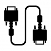 VGA(アナログRGB)ケーブルのシルエットイラスト03