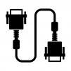 VGA(アナログRGB)ケーブルのシルエットイラスト04