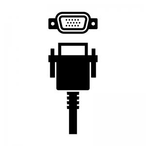 VGA(アナログRGB)ケーブルと端子のシルエットイラスト