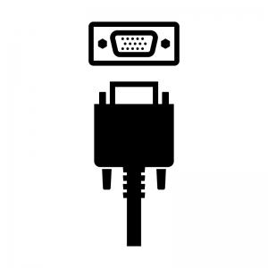 VGA(アナログRGB)ケーブルと端子のシルエットイラスト02