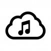 クラウドミュージック(音楽)の白黒シルエットイラスト