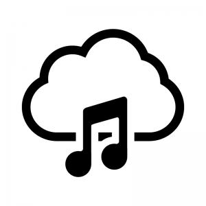 クラウドミュージック(音楽)の白黒シルエットイラスト02