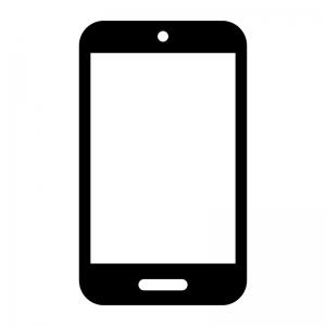 スマートフォンの白黒シルエットイラスト06