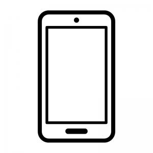 スマートフォンの白黒シルエットイラスト08