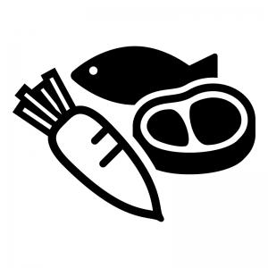 肉と魚と野菜の白黒シルエットイラスト