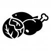肉と魚と野菜の白黒シルエットイラスト02
