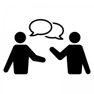 話し合い・会話の白黒シルエットイラスト02