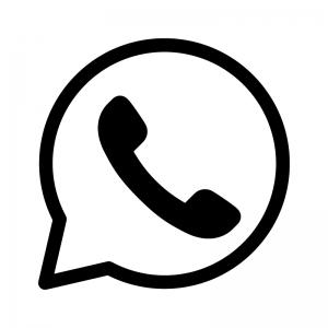 受話器と吹き出しの白黒シルエットイラスト03
