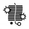 爆竹の白黒シルエットイラスト02