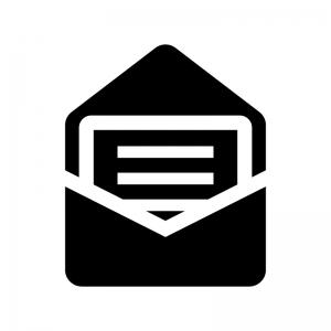 開封メールの白黒シルエットイラスト02