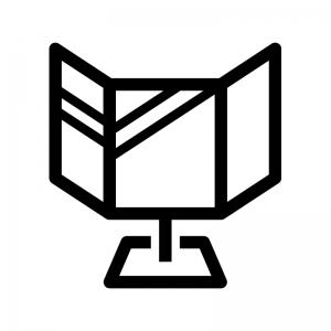 三面鏡の白黒シルエットイラスト
