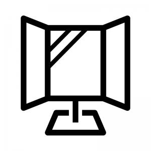 三面鏡の白黒シルエットイラスト02