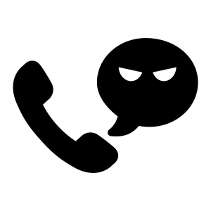 迷惑電話の白黒シルエットイラスト