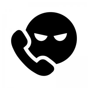 迷惑電話の白黒シルエットイラスト02