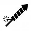ロケット花火の白黒シルエットイラスト